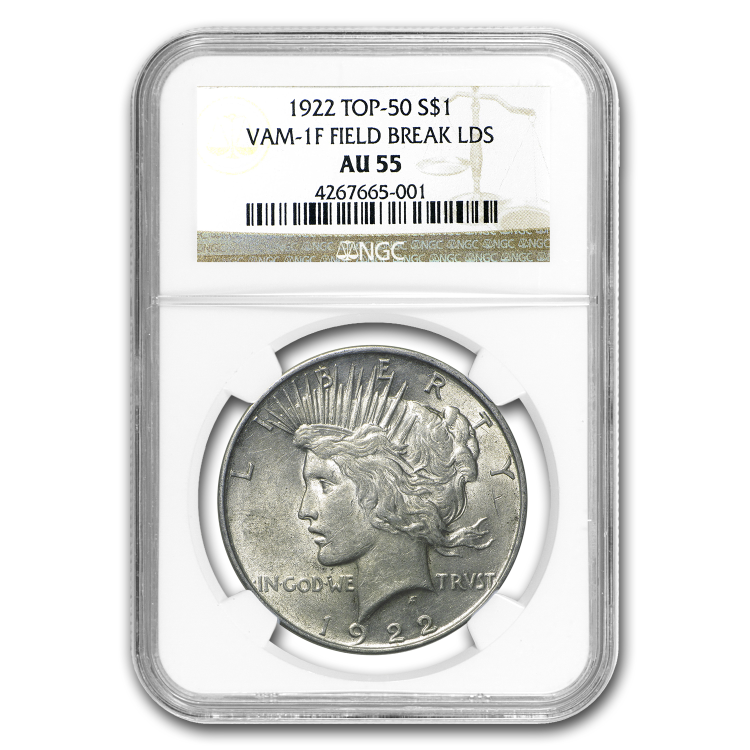 1922 Peace Dollar AU-55 NGC (VAM-1F LDS Field Die Break, Top-50)